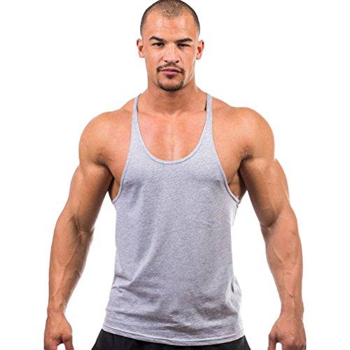 Tookang Hommes Couleur Unie Strech Athlétique Gilets T-Shirt Stringer Débardeur Haut sous-Vêtements Top Maillot
