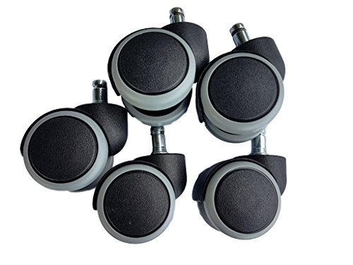 For 1 chair rubber wheels 50 mm Office Chair Caster Swivel Replacement Twin Castors Furniture Appliance & Equipment Set No Scratches (5)