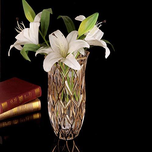 Gold Edge European Crystal Vase Adornos vidrio Decoraciones