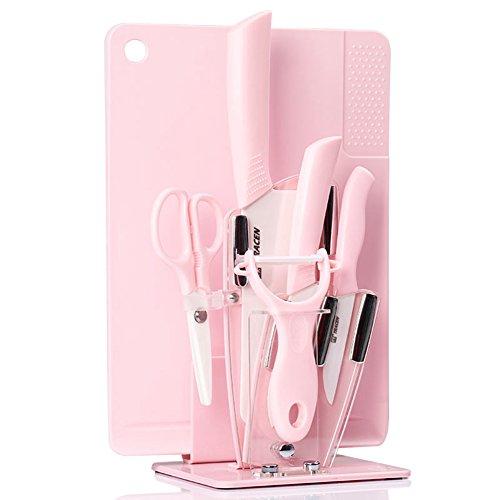 Jsgjzb tagliere set di coltelli in ceramica/set per pappe per neonati/cucina tagliere per cucina per bambini - rosa