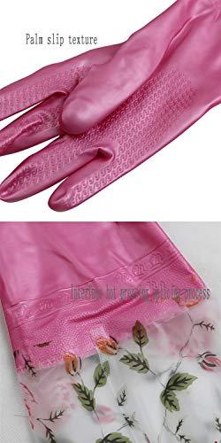 Plus Baumwolle Ärmel Elastische Enge Winter Warme Geschirr Wäsche Aufgaben Reinigung Gummi Kunststoff Gummihandschuhe Zwei Paare (Farbe : Pink (Two Pairs))