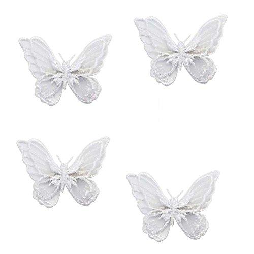 Tri-Elt 4pcs Dentelle Double Broderie Papillon Cheveux Clip Accessoires Pour Femmes Fille Bébé,Le Papillon est Attache a une Pince Crocodile(Blanc)