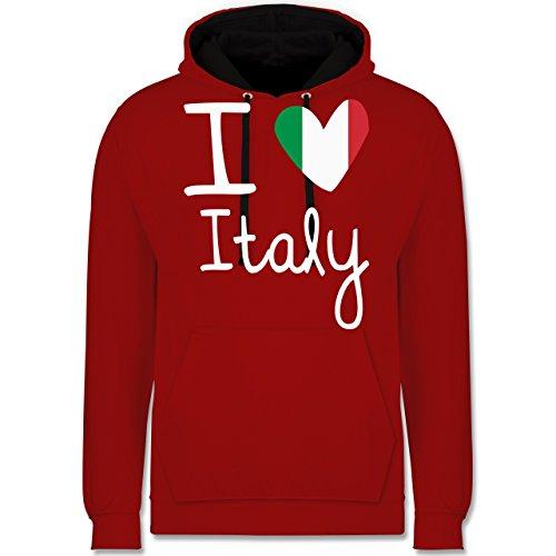 I love - I love Italy - Kontrast Hoodie Rot/Schwarz