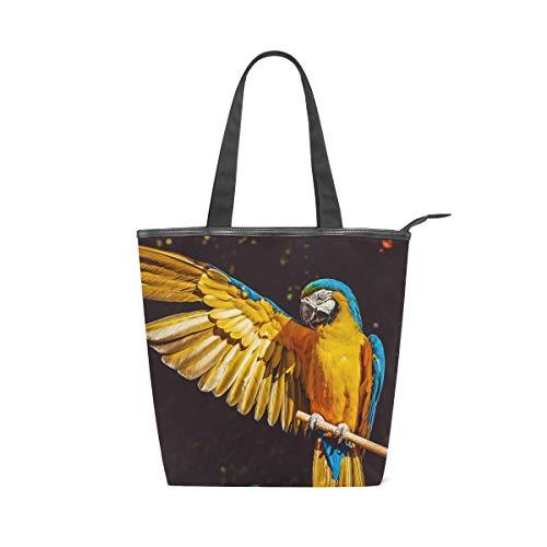 LAZEN Stilvolle Leinwand Tote Bag Handtasche 14 x 4,5 x 15 Zoll niedlichen Papagei