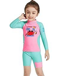 Hony Niños Niñas Traje de Neopreno - Traje de baño Dos Piezas Manga Larga Proteccion Solar UV 50+ Niñito Bodysuit Guardia de Erupción Playa Bebé Piscina