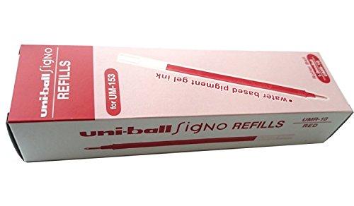 uni-ball Refillminen UMR-10 12er Packung, für Gelschreiber GEL IMPACT BROAD UM 153S (UM-153S) (Rot)