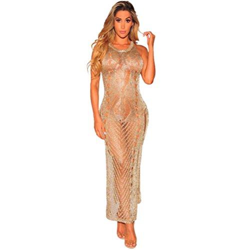 Vestito de Donna, MEIbax Vestiti sexy donne scavate senza maniche vedere attraverso o collare spiaggia grembiule vestito trasparente lungo (S, Dorato)