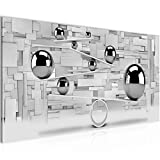 Bilder 3D Kugeln Wandbild 100 x 40 cm Vlies - Leinwand Bild XXL Format Wandbilder Wohnzimmer Wohnung Deko Kunstdrucke Grau 1 Teilig -100% MADE IN GERMANY - Fertig zum Aufhängen 504312c