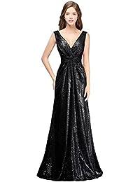 MisShow Damen Elegant glitzerig Brautjungfernkleider Tief V-Ausschnitt  Paillette Abendkleider Lang Ballkleider Abschlusskleid Gr. 0e7a96f5d0