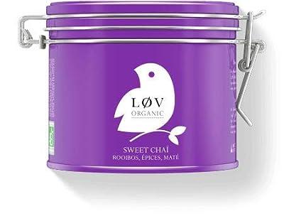 Løv Organic - Sweet Chaï, mélange bio de rooibos et maté aux épices - Sans théine - Boîte métal 100g - Environ 40 tasses - Mélange issu de l'Agriculture Biologique