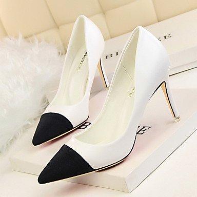 SHOESHAOGE Chaussures Pour Femmes Pu Printemps Automne Pompe De Base Pour Des Talons Camel Rouge Noir Blanc White