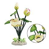 sourcingmap® In plastica bianco Fiore di Loto Acquario ornamento acquatico con sostegno