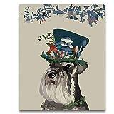 YKCKSD Hut Hund Tiermalerei Nach Zahlen Schöne Kinder Malen Färbung Nach Zahlen Frauen Kinder Üben Farbe Für Wohnzimmer Dekor Frameless 40X50Cm
