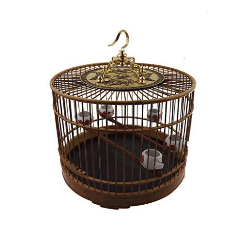 Gabbie Pappagalli In primo piano Materiale in bambù Gabbia per uccelli con gancio Uccello da interno e da esterno Villa in stile cinese Gabbia per uccelli vintage Gabbia Voliera per Uccelli