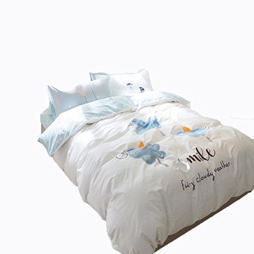 Preisvergleich Produktbild Baumwollbett Vier Stücke Kleine Frische Flachbildschirm Druck Bettdecke , White , 1.5-1.8 M Bed,white,1.5-1.8 m bed