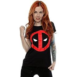 Marvel mujer Deadpool Clean Logo Camiseta Small Negro