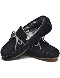 29d3b78b47164 Lazy Dogz Benson Men's Black Moccasin Slippers and Gift Box