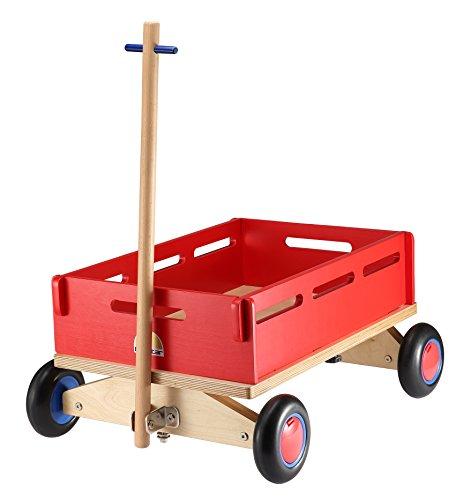 Preisvergleich Produktbild BIKESTAR® Original Kleiner Kinder Spielzeug Holz Bollerwagen Transportwagen Handwagen mit Gummibereifung  Natur Holz Edition  Erdbeeren Rot