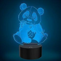 Animali Panda 3D comodino Illusion Lampada da notte a LED, FZAI Touch Table Desk Lamp Home Decoration 7 colori di illuminazione per i bambini regalo