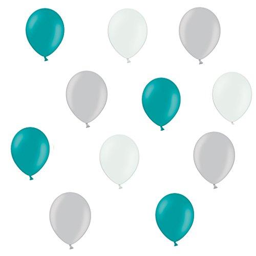 30 Premium Luftballons in Silber/Weiß/Türkis - Made in EU - 100% Naturlatex somit 100% giftfrei und 100% biologisch abbaubar - Hochzeit Silvester Karneval - für Helium geeignet - twist4® (Weiß Und Türkis)