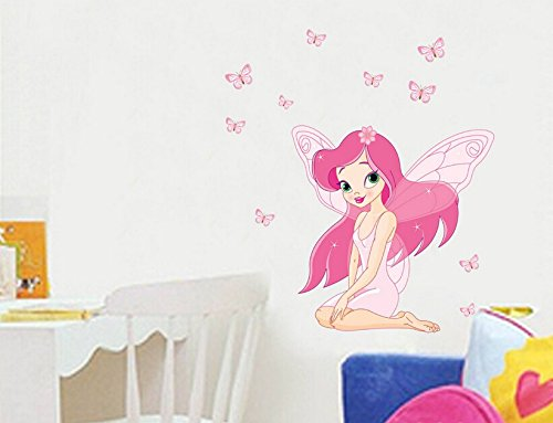 Lovely Pink Butterfly Fairy Girl Removable Wall Sticker Wall Decal Wall Decor Wallpaper For Kids Room Decoration
