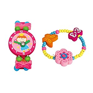 Bino 2 tlg. Set Holzschmuck Mädchen Motiv Armbanduhr Fee Rosa und Armband Blume Rosa