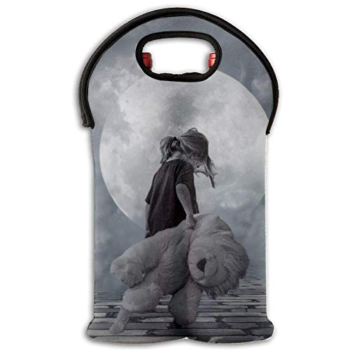 2-Bottle Neoprene Wine/Water Bottle Tote Bag Girl Bear Toy Thermal Wine Bottle Carrying Cooler Carrier for Travel, Picnic, for Wine Lover -