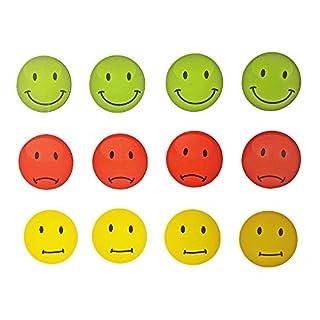 EAST-WEST Trading GmbH Magnete Smile, Emoticon, 12 Stück im Set, Kühlschrankmagnete, Ampel-Smile-Magnete in DREI Farben, witzige Gute Laune Magnete, Durchmesser jeweils 4 cm