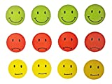 Magnete Smile, Emoji, Emoticon, 12 Stück im Set, Kühlschrankmagnete, Ampel-Smile-Magnete in drei Farben, witzige gute Laune Magnete, Durchmesser jeweils 4 cm
