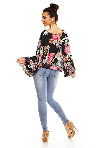 House Style Damen Bluse Tunika Shirt Elegant Hemd Ciffon Oberteil Blumen Langarm Sommer Schwarz Pink
