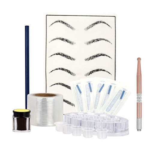 Gazechimp Eyebrow Permanent Makeup Microblading Kit Augenbraue Tattoo Set mit Tattoo Stift, Übungshaut, Augenbrauengel, 14 Pin Tattoonadel usw. Zubehör Set - Rosa -