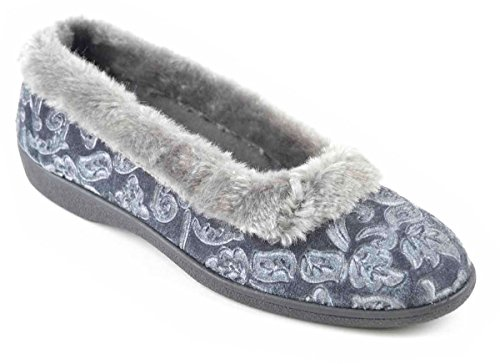Donna non stringato Floreale Pantofole con Risvolti In Pelliccia - Rosso o Blu - Rosso, UK 7 (Euro 40) Blu