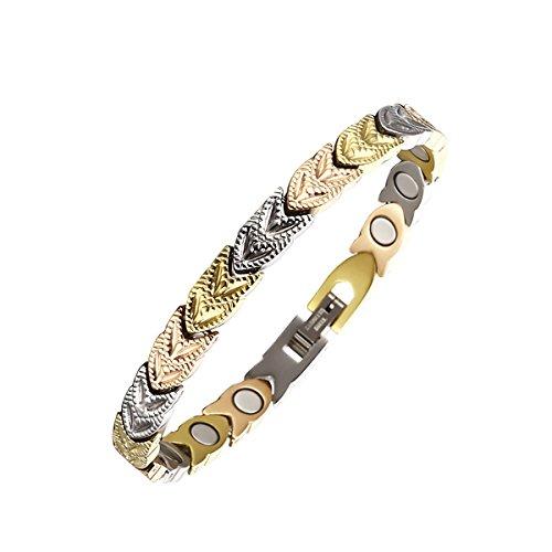 Tricolor Verstellbare Edelstahl Gesundheit magnetische Therapie Armbänder für Damen Schmerzlinderung für Arthritis, Migräne, Karpaltunnel