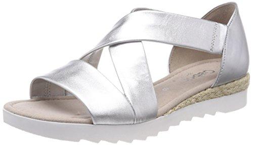 Gabor Shoes Damen Comfort Sport Riemchensandalen, Mehrfarbig (Silber (Jute), 42 EU