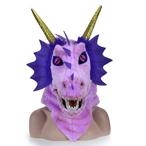 Reiter Kostüm Dragon - Beliebte heiße Weihnachtsmasken Premium Kopf Hals Tier Masken pelzigen handgefertigten Halloween beweglichen Mund Maske Orange Dragon Simulation Tier Maske Erwachsene Tiermasken (Color : Purple)