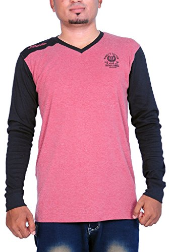 Henry Cotton Men's V Neck Full Sleeve T Shirt (Coral and Black_M)  available at amazon for Rs.449