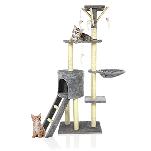 Cozy Pet Deluxe Multi Level Cat Tree Scratcher Activity Centre Scratching Post Heavy Duty Sisal Cat Trees in Grey CT06-Grey. (We do not ship to the Channel Islands or The Isles of Scilly.)