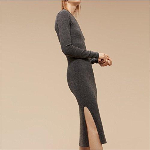 Moda laterali spacchi spacco Longuette T-Shirt Maglietta a Maniche Lunghe Bodycon Aderente Fasciante Dress Vestito Abito grigio Grigio