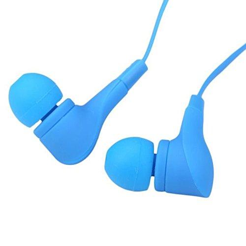 Écouteurs intra-auriculaires anti-bruit Bleu Sport Casque écouteurs Mains libres écouteurs intra-auriculaires 3,5mm W/appel mains libres Mic. Compatible avec