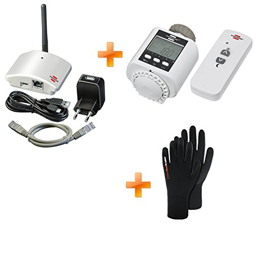 Brennenstuhl Brematic Home Automation Gateway GWY 433 1294100 + Brematic Funk-Heizkörperthermostat FHT 433 1294120 + 1Paar Polyester, Strickhandschuh mit Latex