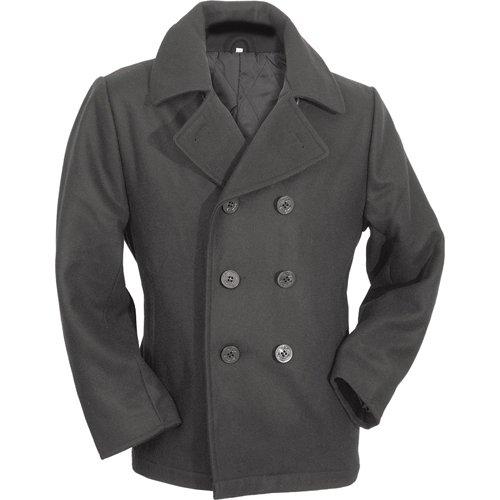 Vintage Mantel Schwarz (Surplus Herren Pea Coat, Schwarz, L)