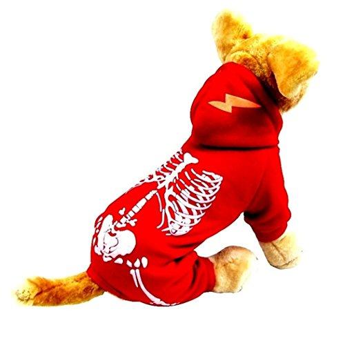 Hund Kostüm, Hillento Dinosaurier Kostüm noctilucent Skelett Outfit für Hunde Kleidung halloween Tag Partei cosplay Schädel Bekleidung, rot