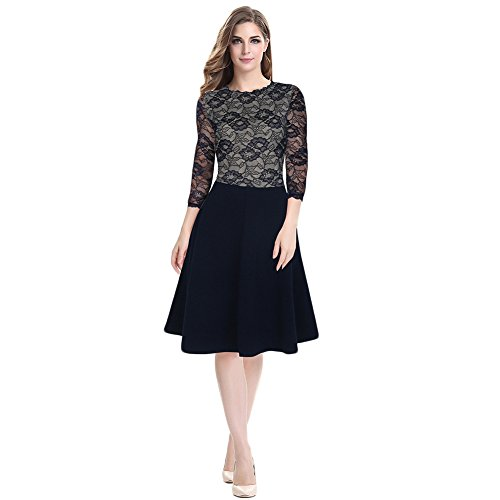 WintCo Damenkleid Party Büro Reise Fashion Kleid 1/2 Ärmel Kleid Lesbie Blau