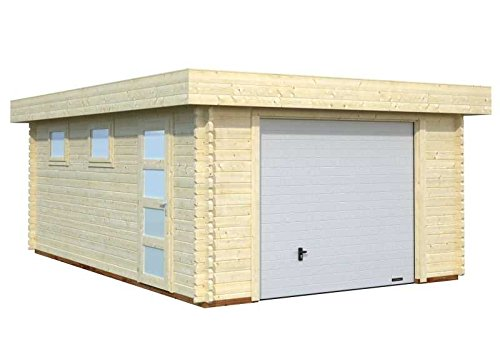 Palmako Blockbohlen-Garage Rasmus 19,0 44 mm natur mit Sektionaltor