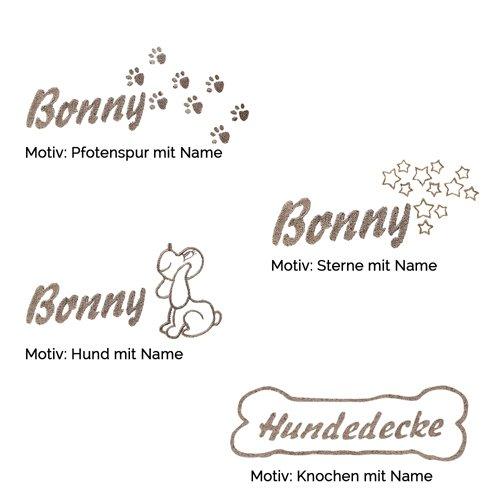 Fleecedecke Schwarz mit Knochen und Name diese Schondecke wird bestickt mit dem Namen Ihres Hundes eine kuscheligen Hundedecke Schmusedecke aus flauschig-weichem Polarfleece viele Motive lieferbar - 2