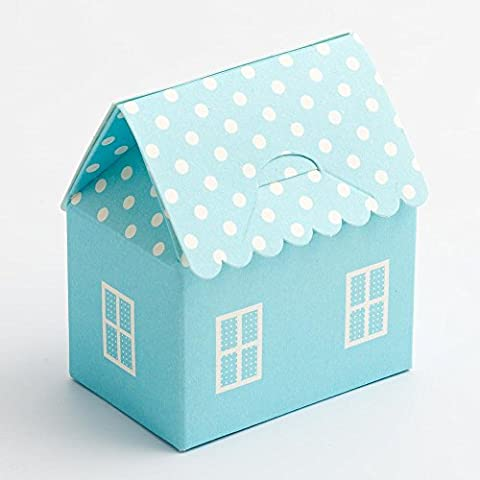 Favour Boxes Blue Polka Dot House shape, Pack of 10 for Baby Shower, christenings, baby announcement