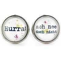 SCHMUCKZUCKER Damen Cabochon Ohrstecker mit Spruch Hurra - ach nee doch nicht witzige Modeschmuck Ohrringe silber-farben 14mm