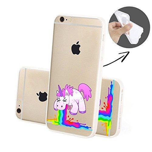 Finoo Handyhuelle Silicone Motivo 7 - Unicorno presse, iPhone 5/5S Unicorno