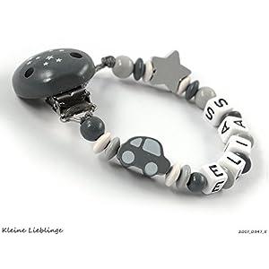 Schnullerkette mit Namen für Jungen 2-7 Buchstaben Sternenclip Auto Stern - dunkelgrau hellgrau grau weiß - tolles Geburtsgeschenk oder auch Taufgeschenk