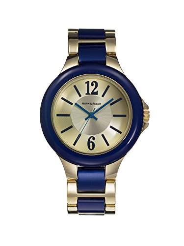 Mark Maddox Women's Quartz Watch with Gold Dial Analogue Display and Blue Bracelet MP0002-35 (Certified Refurbished)
